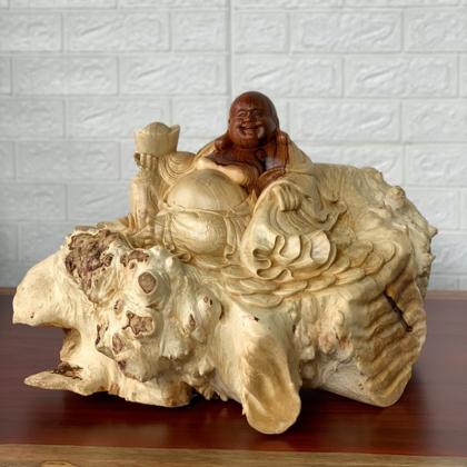 Tượng Phật Di Lạc Gỗ Nu Cẩm ( 36x40x55cm)